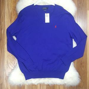 POLO Ralph Lauren Pima Cotton V Neck Sweater Lrg